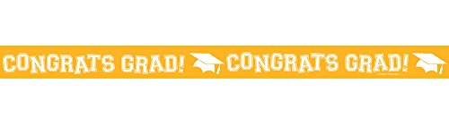 Creative Converting Congrats Grad Printed Crepe Paper Streamer Roll, 30', School Bus Yellow