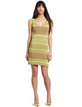 Rebecca Minkoff Women's Sunset Tank Dress, Neon Yellow Stripe, Medium