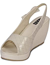 Ten Women's Patent Leather Wedge Sandals