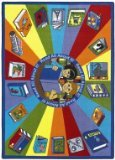Joy Carpets Kid Essentials Language & Literacy Round Read All About It Rug, Multicolored, 13'2""