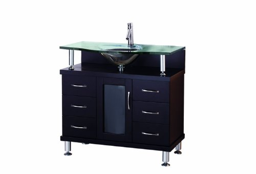 Virtu USA MS-36-G-ES Vincente 36-Inch Single Sink Bathroom Vanity with Includes Tempered Glass Countertop with Integrated Glass Basin, Espresso Finish