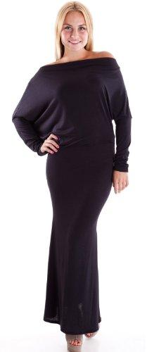 Black Ladies Dolman Long Sleeve Draped Neck Maxi Dress