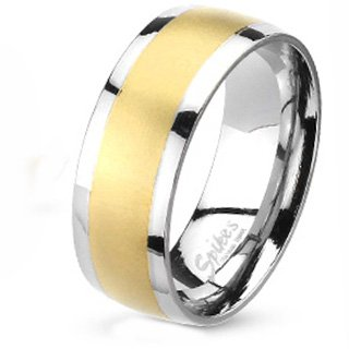 8MM Polished Stainless Steel Dome Band with Gold Plated Brushed Center For Men