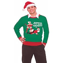 Naughty Santa Getting Whipped Novelty Christmas Sweater
