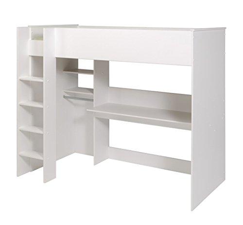 Lit surélevé Blanc, H 179 x L 206 x P 111 cm -PEGANE-