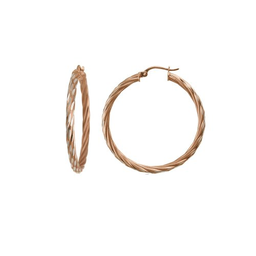 Rose Gold Plated Sterling Silver Twisted Hoop Earrings (1.38