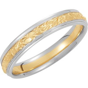 Genuine IceCarats Designer Jewelry Gift 14K Yellow/White Gold Wedding Band Ring Ring. Size 07.50 Two Tone Design Band Wyw In 14K Yellow/Whitegold Size 7.5