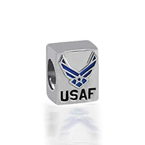 Bling Jewelry 925 Sterling Silver USAF US Air Force Bead fits Pandora, Biagi, Troll by Bling Jewelry
