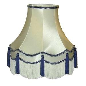 22 Inch Laura Blue Tassel Fabric Lampshade
