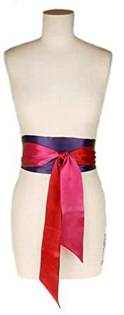 L. Erickson USA Color Block Obi Sash Belt - Fuchsia/Violetta/Ruby