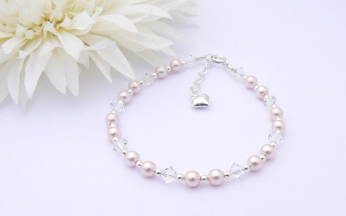 Sterling Silver, Pearl and Crystal Bracelet - Childrens Eid Gift