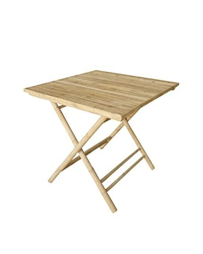 ZEW, Inc. Bamboo Collapsible Square Table, Light Natural