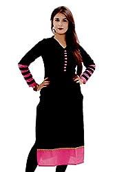 Maa Textile Women's black Georgette semi-Stitched kurtis(K1002_black_free size)