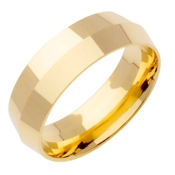 14K Gold Traditional Knife Edge Women'S Wedding Band (7Mm) Size-6