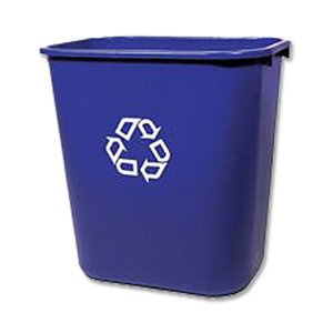 Rubbermaid Commercial Medium Deskside Recycling Container, Rectangular, Plastic
