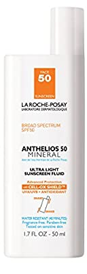 La Roche-Posay Anthelios 50 Mineral Ultra-Light Facial Sunscreen Fluid for Sensitive Skin, Water Resistant with SPF 50, 1.7 Fl. Oz.
