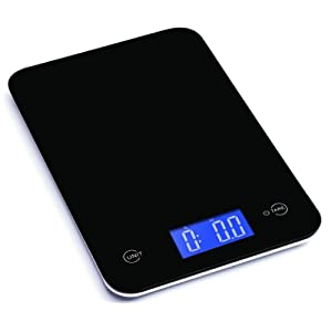 Ozeri Touch Professional Digital Kitchen Scale (17.6 lb Edition), Tempered Glass in Elegant Black