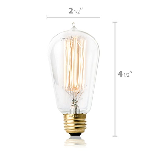 TOP RATED Hudson Lighting Vintage Antique Style Edison Bulb - 4 Pack - ST58 - Squirrel Cage Filament - 230 Lumens - 60 Watt - Dimmable - E26 Bulb Base - Classic Squirrel Cage Filament - Tear Drop Top 4