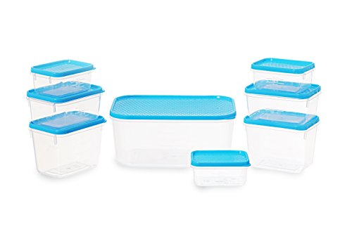 All Time Plastics Polka Container Set, Set of 8, Blue