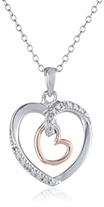 """18k Rose Gold-Plated Sterling Silver and Cubic Zirconia Two-Tone Heart Pendant Necklace, 18"""""""