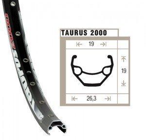 Felge Rigida Taurus 2000 Disc 26″ schwarz 559-19 VL 8,5 36 Loch, mit Ösen