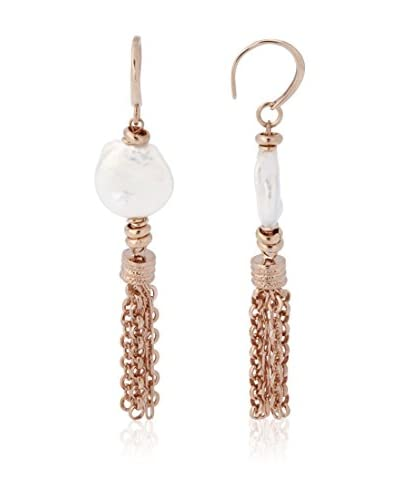 Perlaviva Pendientes Bronze Cultured Freshwater Pearl Multi Chain Rosado / Blanco
