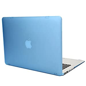 TKOOFN Hard PC Case Crystal Surface Protective Shell & Flannel Storage Bag for Apple 13-inch MacBook Air (Model: A1466 and A1369), Blue - PT9102