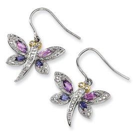 Sterling Silver Diamond Dragonfly Earrings