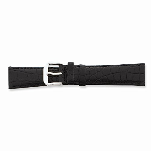 20mm Blk Croc Dark Stitch Slvr-tone Buckle Watch Band