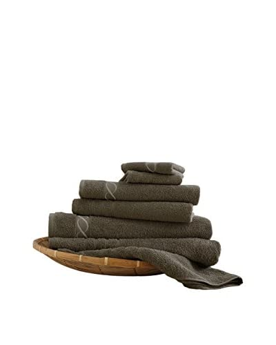 Luxury Home 6-Piece Egyptian Cotton Embroidered Chain Towel Set, Mocha