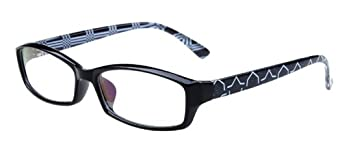 Anti-glare Computer Glasses Eyeglasses (Black Frame with Graphic Arms)