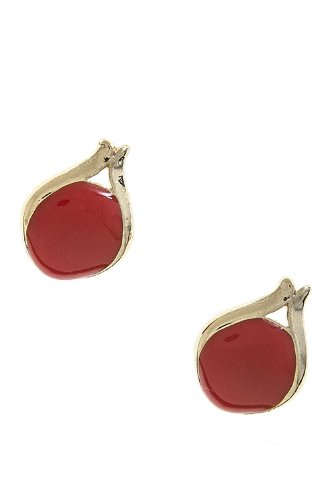 Karmas Canvas Lacquered Oval Earrings (Rust)
