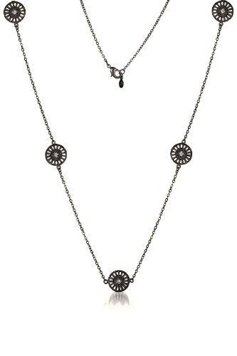 925 Sterling Silver Black Plated 16 Inch Necklace with 5 Circles Filigree Lace Design CZ Accent - Incl. ClassicDiamondHouse Free Gift Box & Cleaning Cloth