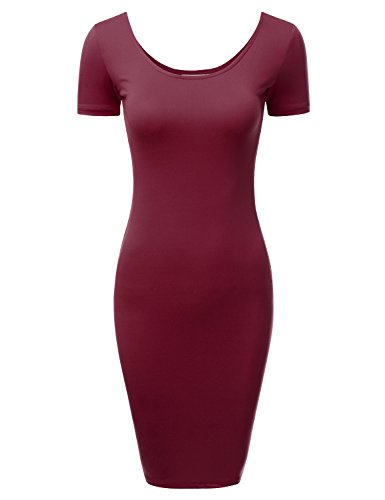 DRESSIS Women's Short Sleeve Scoop Neck and Back Bodycon Mini Dress BURGUNDY M