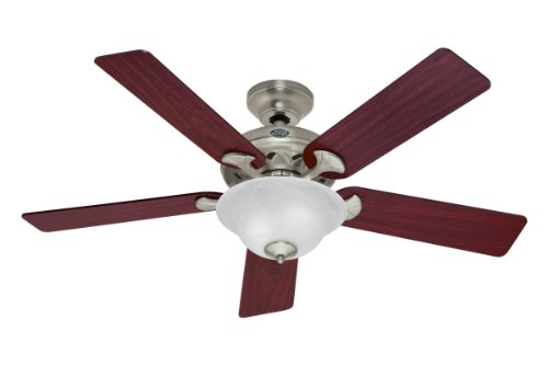 Hunter Fan Company 53109 The Brookline 52-inch Brushed Nickel Ceiling Fan with Five Cherry/Maple Blades and a Light Kit (52 Brushed Nickel Ceiling Fan compare prices)
