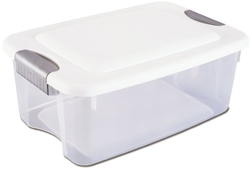 Sterilite 19848006 18-Quart Ultra Storage Box, White Lid See-Through Base with Titanium Latches, 6-Pack