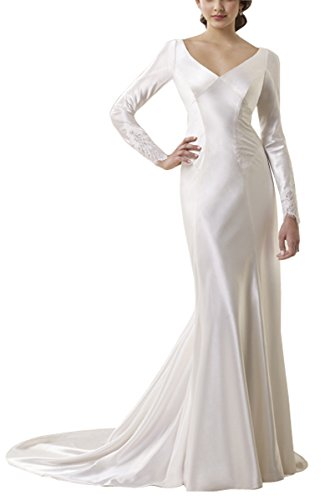 ccd3c532d06f Peapock Princess Long Sleeve Back with Appliques Satin Wedding Dresses