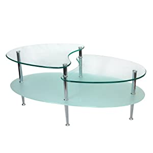 Walker Edison Glass Metal Oval Coffee Table Glass Coffee Table