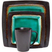 Gibson Hometrends Ocean Oasis Brown Blue Turquoise Stoneware 16 Piece Dinnerware Set... by Gibson
