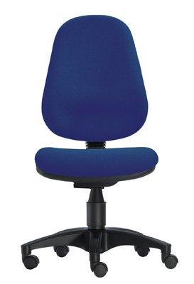 1000 Stühle Wannensitz-Bürodrehstuhl, Sitz BxTxH 450x440x430-530 mm, Hochlehner, Gestell schwarz, Bezug blau