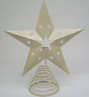 Off White Tin Star Tree Topper with Light Holder