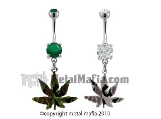 DANGLING CAMOUFLAGE POT LEAF BELLY RING BNAHPC1CL- CLEAR