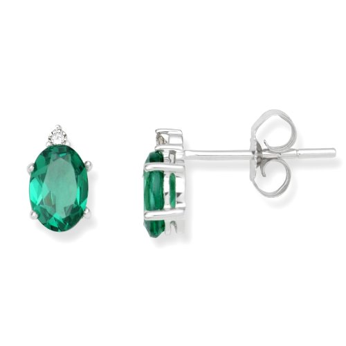 Emerald Earrings, 9ct White Gold, Diamond and Created Emerald Studs, 0.02 carat Diamond Weight, by Miore, UNI003EW