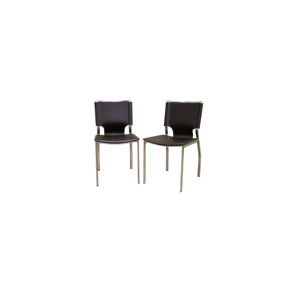 Wholesale Interiors Brown Leather w/Chrome Frame Dining Chair Set of 2