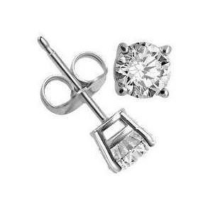 Amazing Authentic Stud Earrings Sterling Silver .925 Genuine Diamond Color Cubic Zirconia 1 Carat Total Weight Special Limited Time Offer Super Sale Price, Comes with a Free Gift Pouch and Gift Box