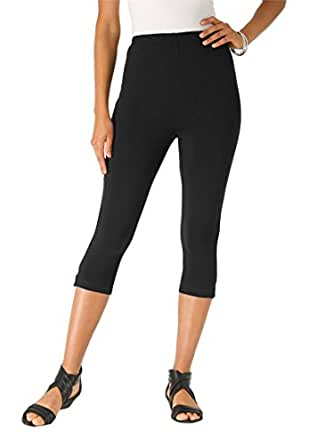 Roamans Women's Plus Size Stretch Knit Petite Capri Legging (Black,S)