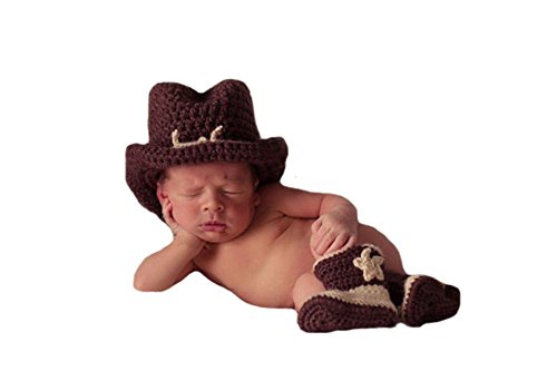 Liange Newborn Baby Photography Prop Crochet Knitted Cowboy Hat Boots Costume Coffee