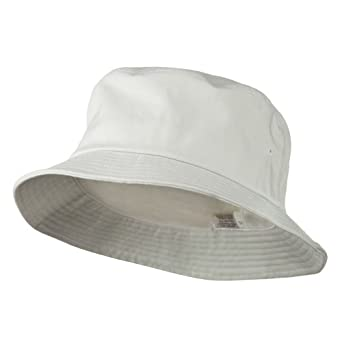 Big Size Cotton Blend Twill Bucket Hat - White (For Big ...