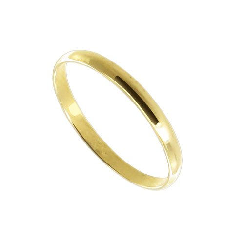 Nickel Free 18 KT Gold Layered Polished Finish 2mm Wide Plain Band Ring