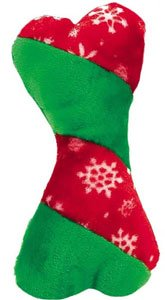Red & Green Holiday Plush Bone Dog Toy with Snowflakes 12″